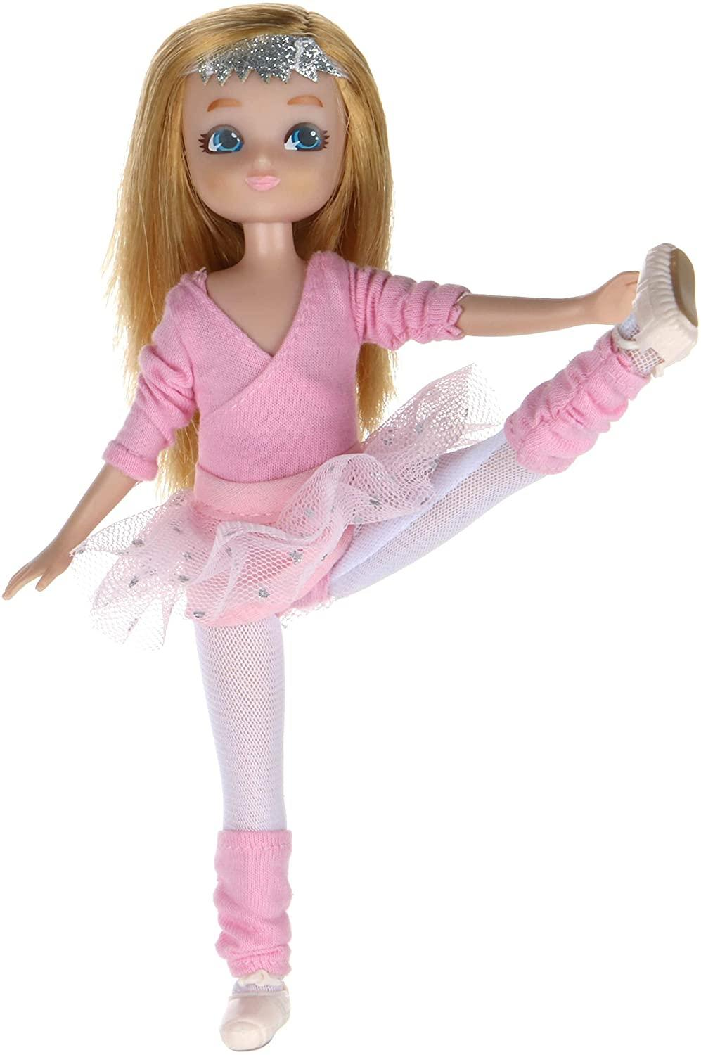 Lottie Doll Ballet Doll with pink ballet outfit including tutu, cardigan leg warners and ballet shoes.