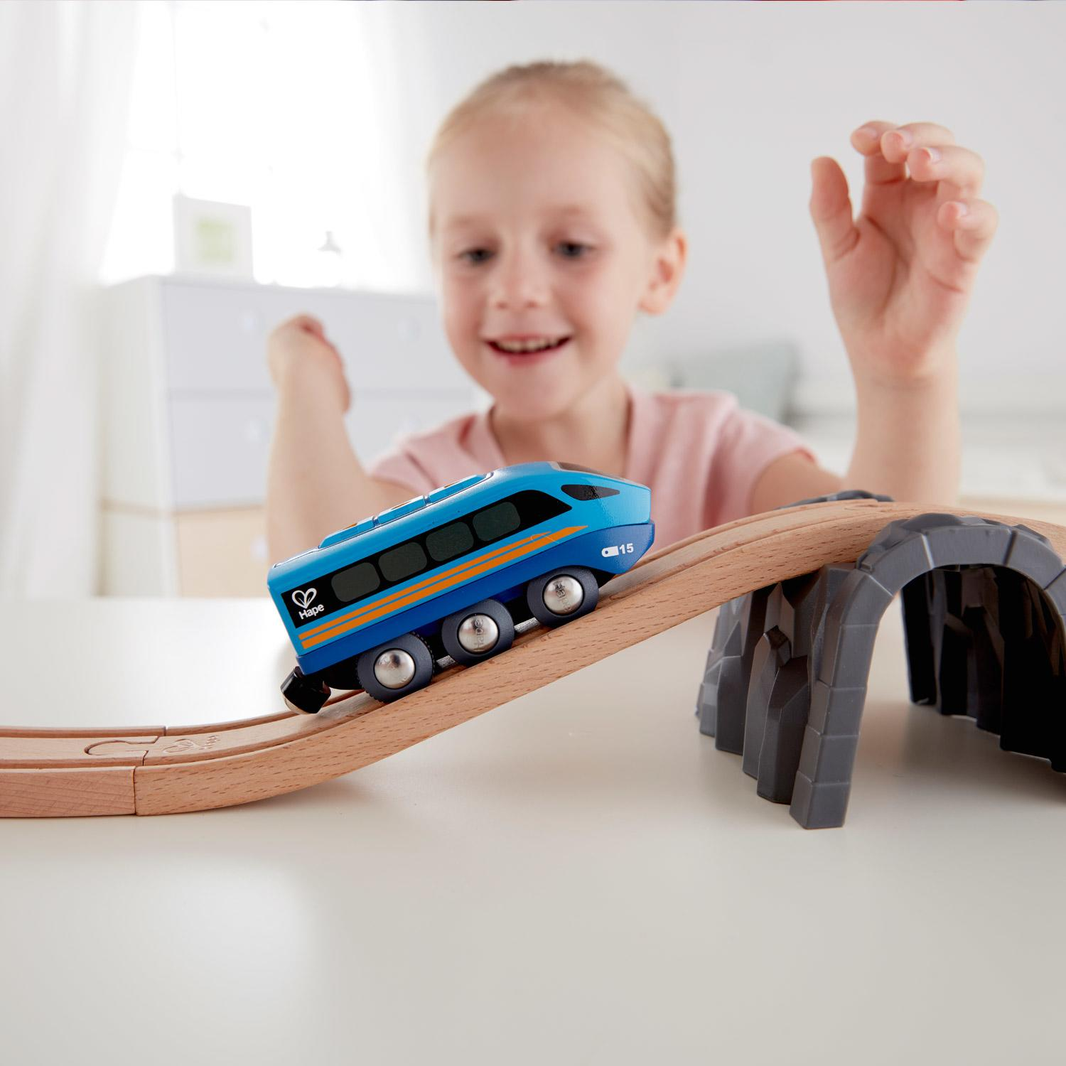 Hape Blue Remote Control Train. Control this engine with your mobile phone