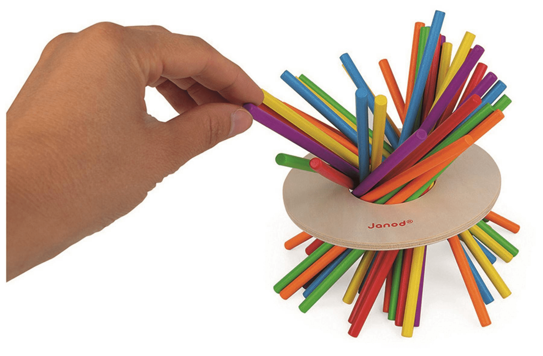 Hand picking colourful sticks.
