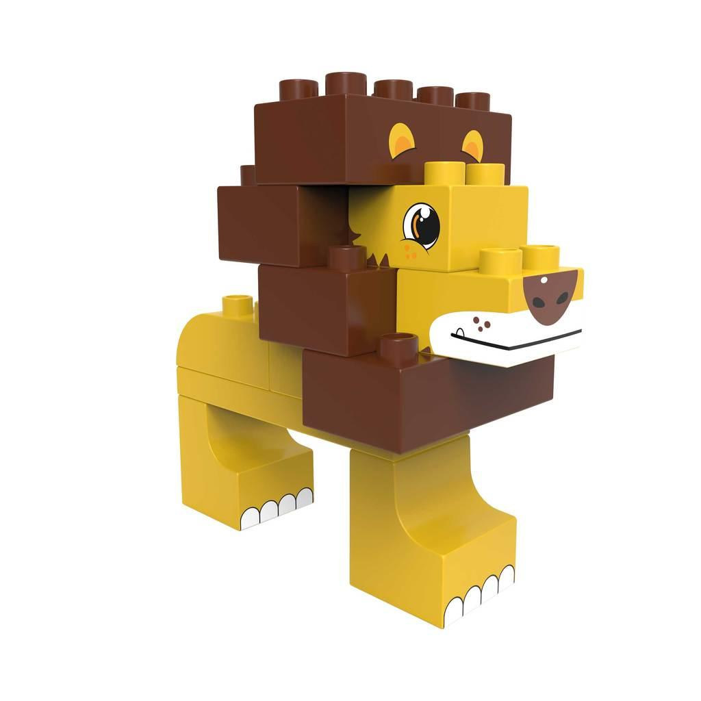 Lion and ostrich building blocks for young children. Blocks are eco-friendly.