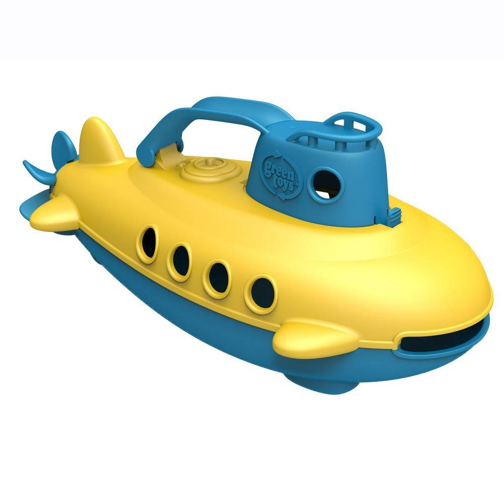 Yellow and blue submarine made from 100% recycled plastic.