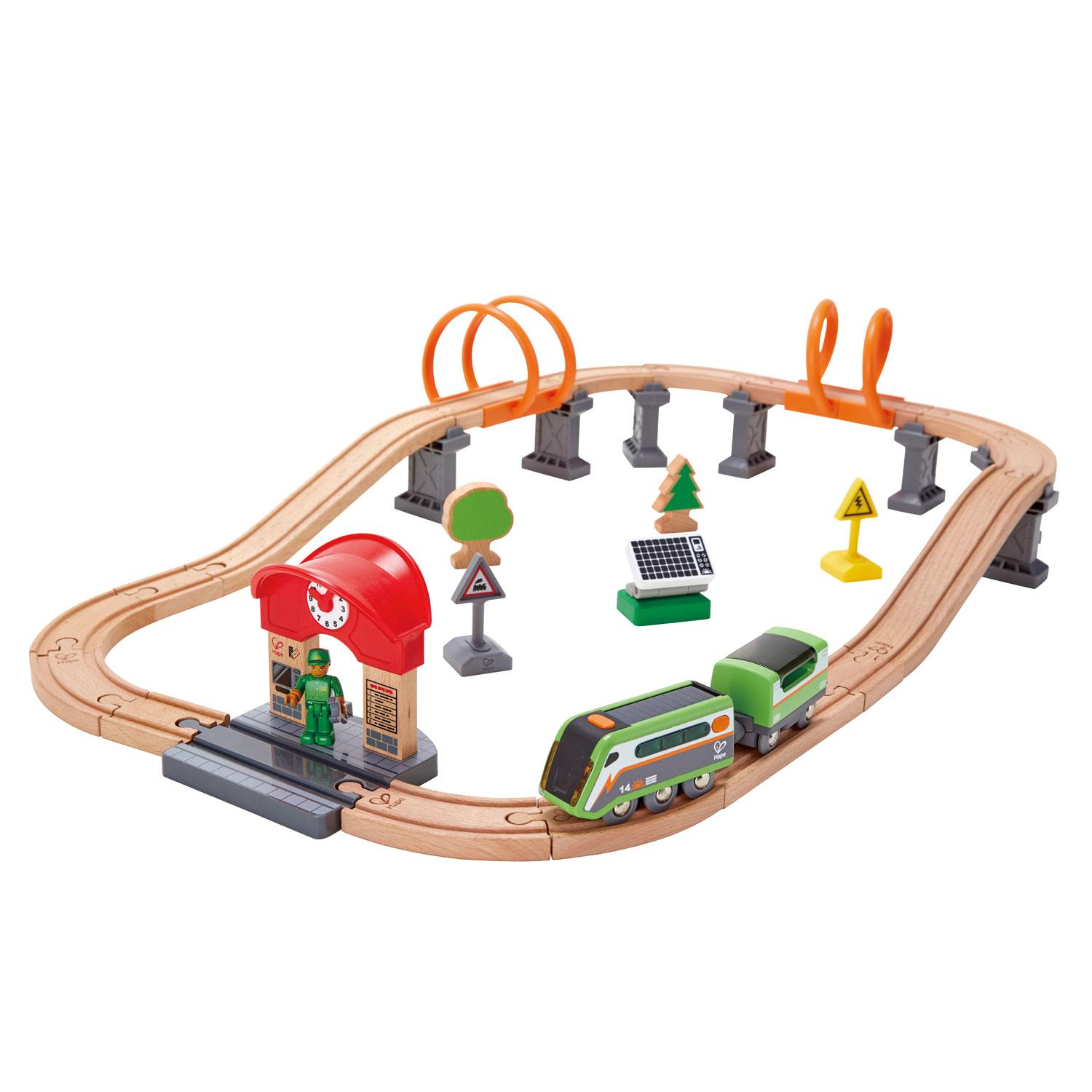 Wooden train track loop with solar engine.