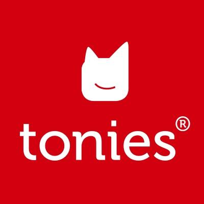 Red and white Tonies logo