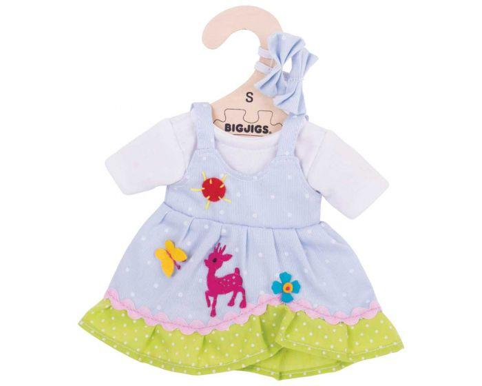 Blue dress with deer and butterfly motif for ragdoll.
