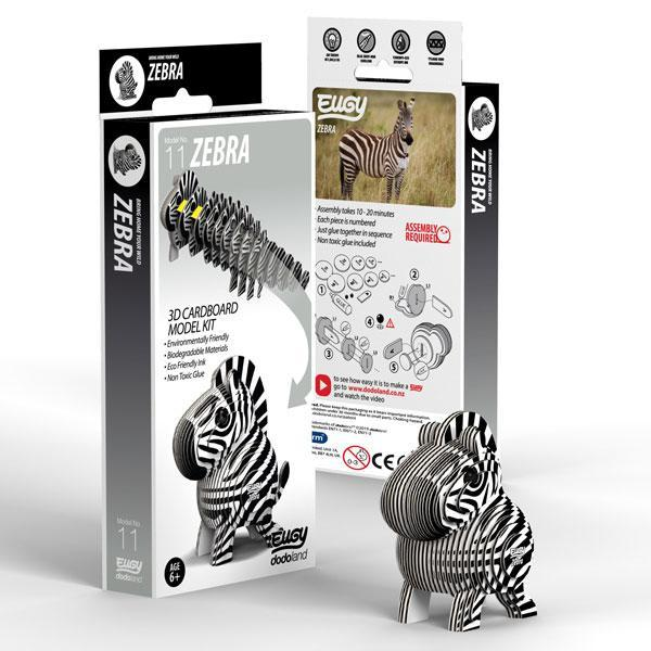 Box showing 3d model of a zebra using biodegradable card and non toxic glue. Cardboard 3D model