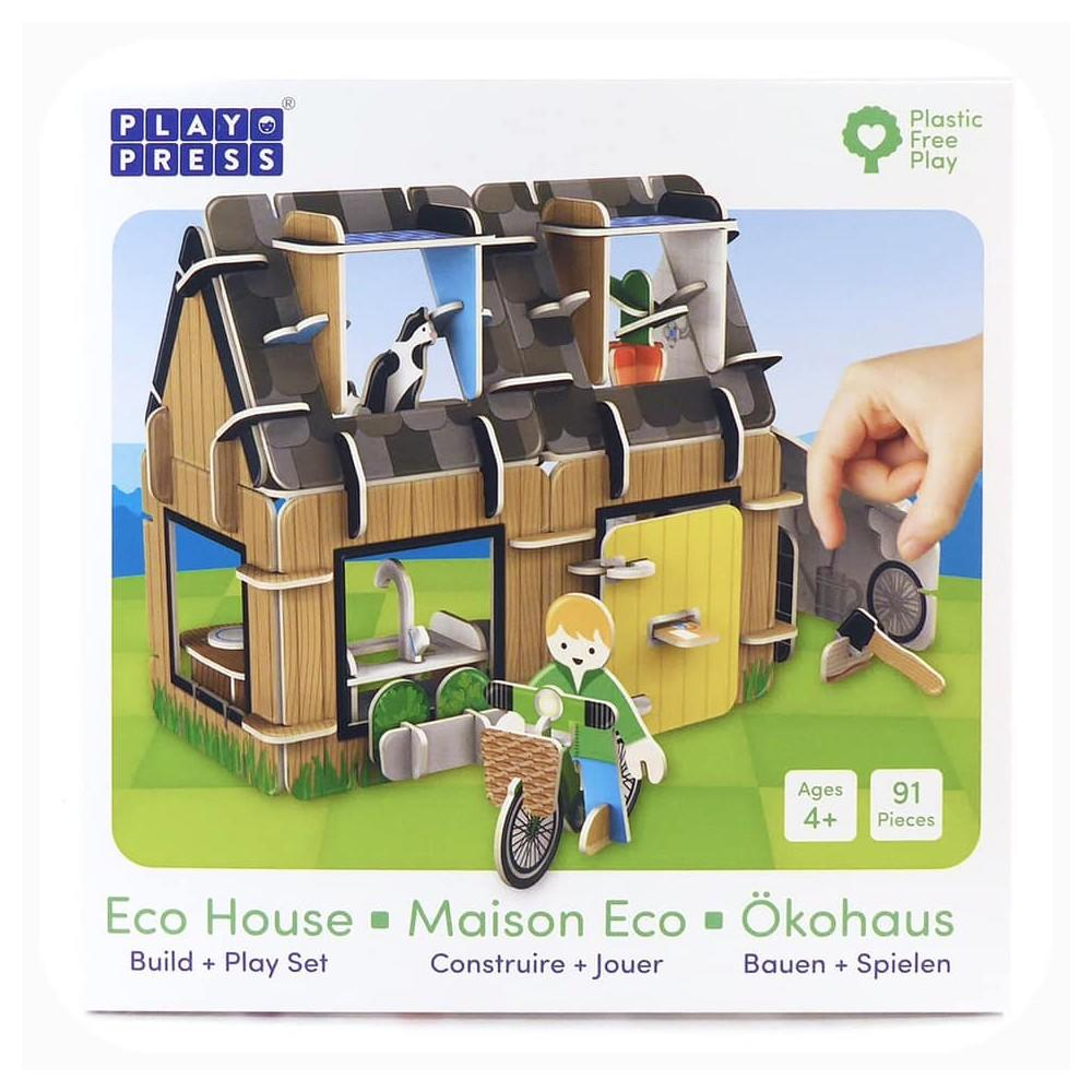 91 piece Playboard Eco House with a person, cat and hieco house with 4 rooms. Age 4-10