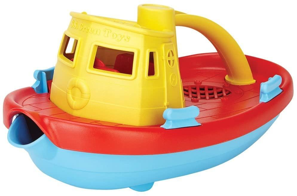 Blue, red & yellow children's tug boat toy