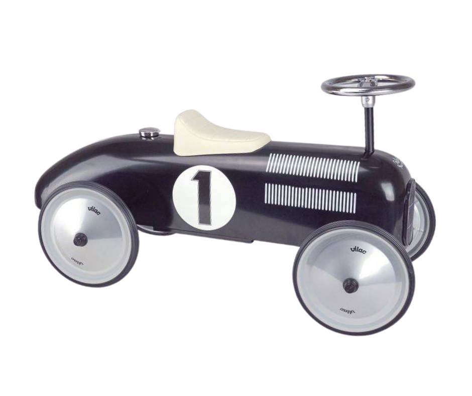 Black metal Vilac car with cream seat and silver metal wheels.