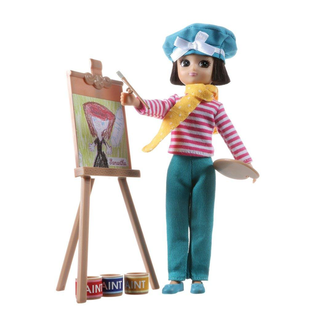 Always Artsy Lottie doll wearing beret painting on her easel.