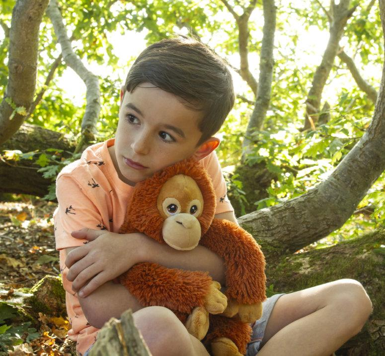 Boy wearing a green t-shirt cuddling orangutan toy.