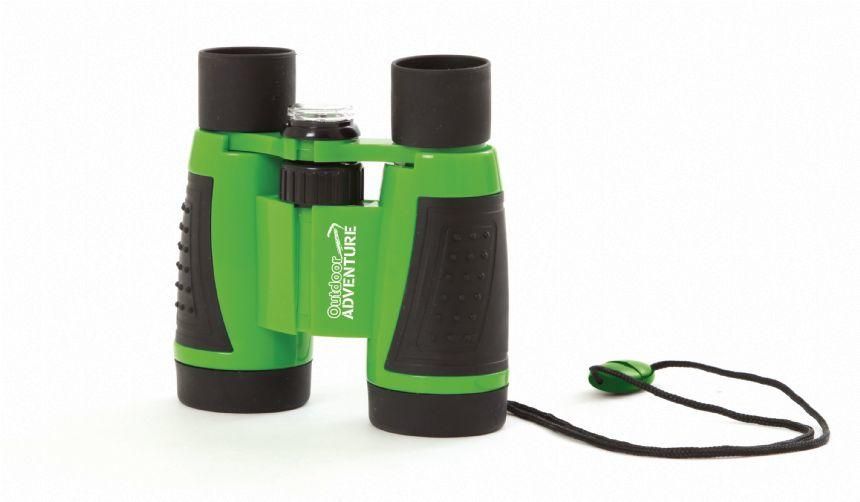 Kids' green and black binoculars.