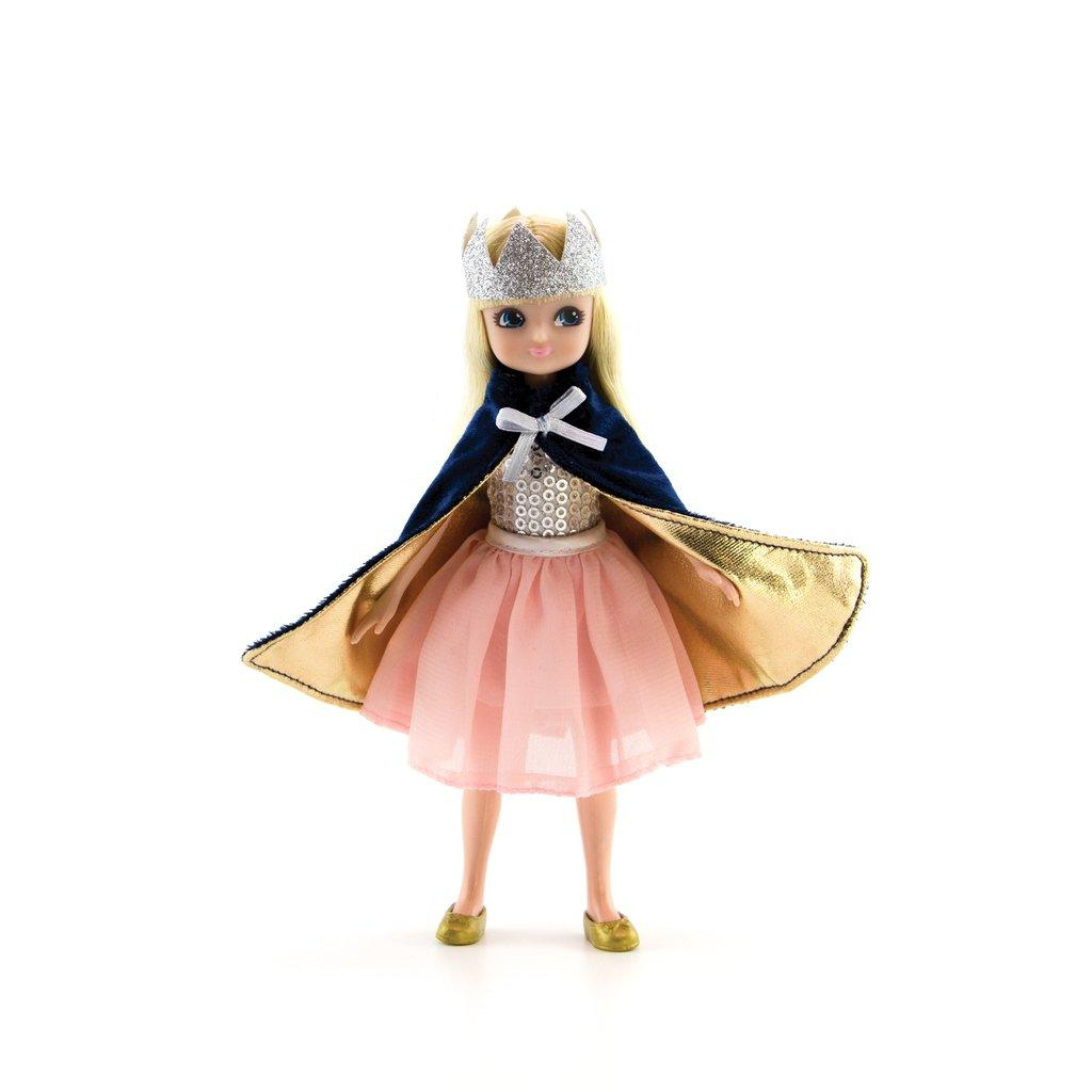 Lottie Doll Queen Outfit  with crown, velvet cape and pink tutu style skirt.