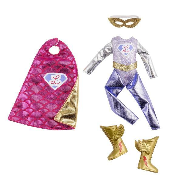 Lottie Doll Superhero Outfit with cape, mask and golden boots with wings!