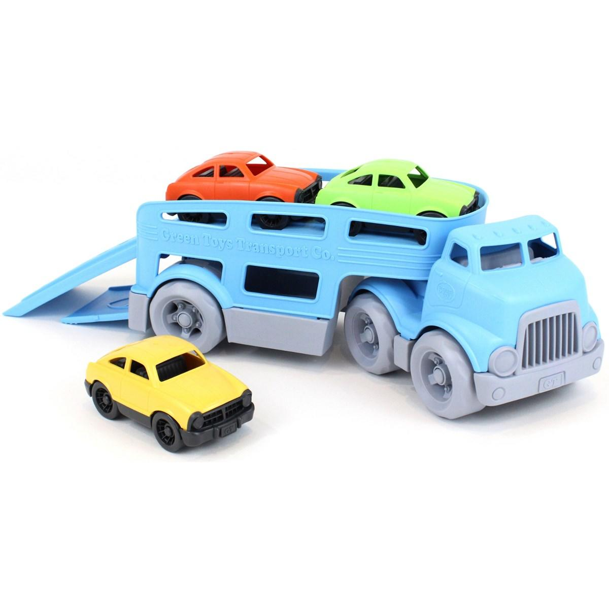 Blue car Transporter with 3 cars all made from recycled milk cartons