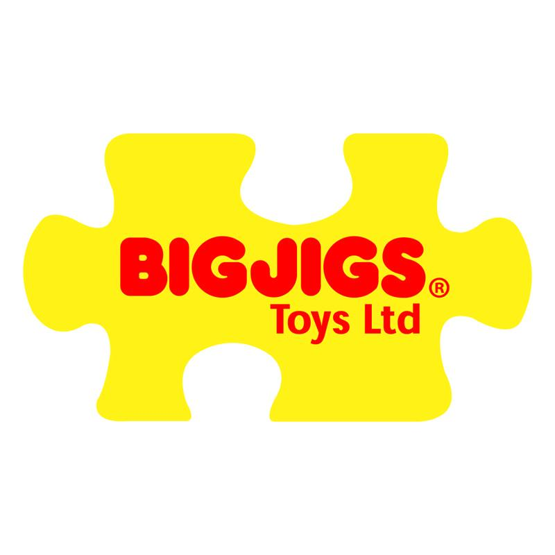 Bigjigs logo made up of a yellow jigsaw-piece-shaped logo with red writing.