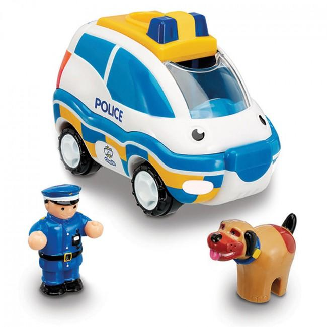 Police car and driver and police dog toy set.