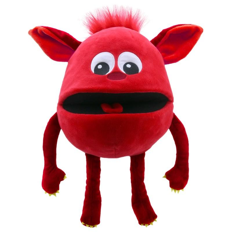 Red, cute monster hand puppet