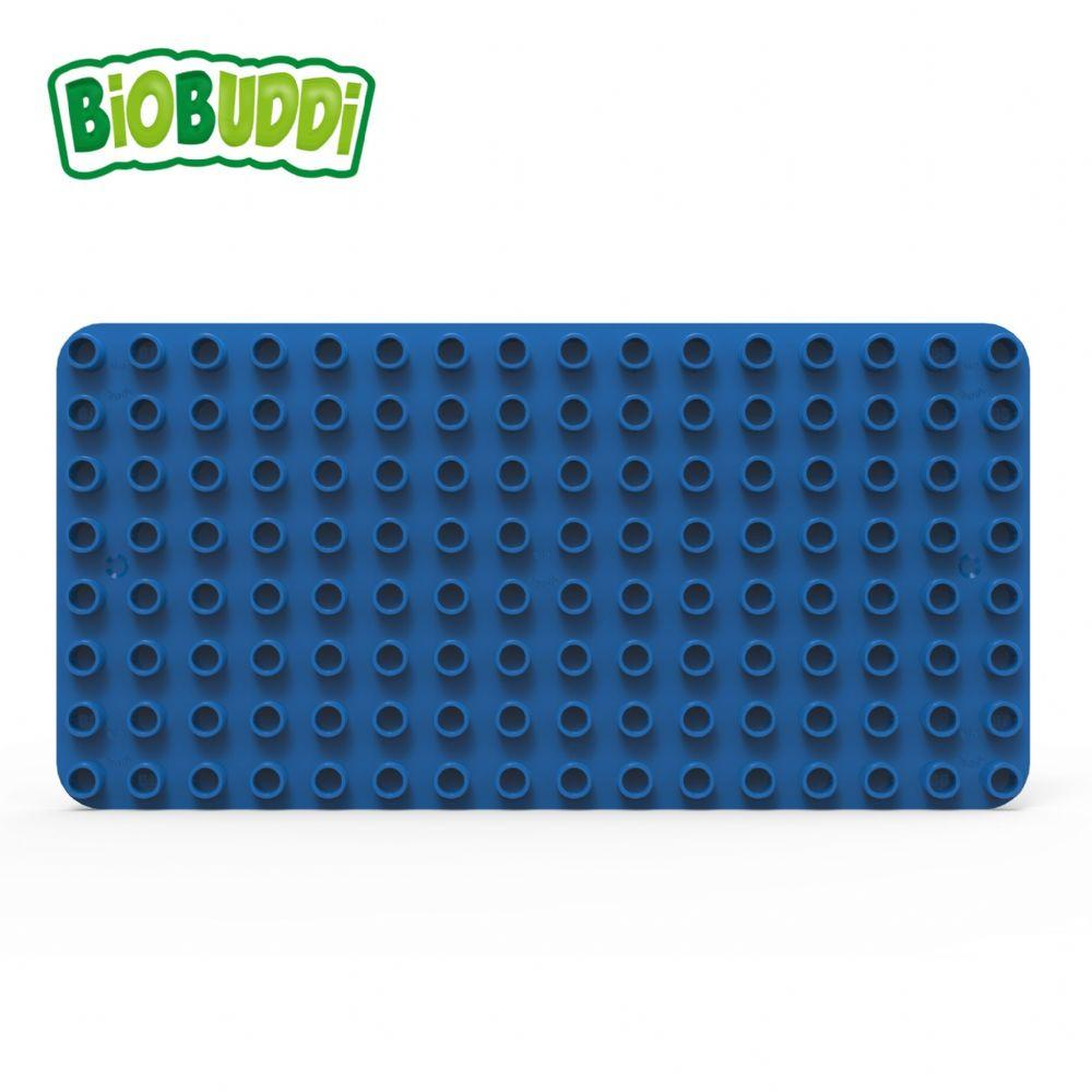 Blue baseplate for Biobuddi building blocks.