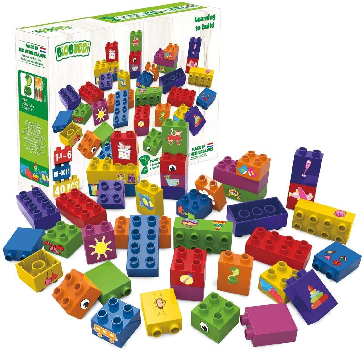40 Eco-friendly, colourful educational building blocks for young children.