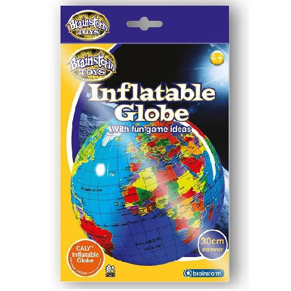 Packaging for inflatable, political globe for children.