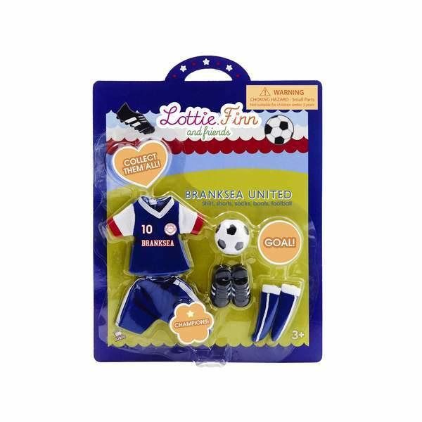 Packaging for Lottie doll football strip outfit.