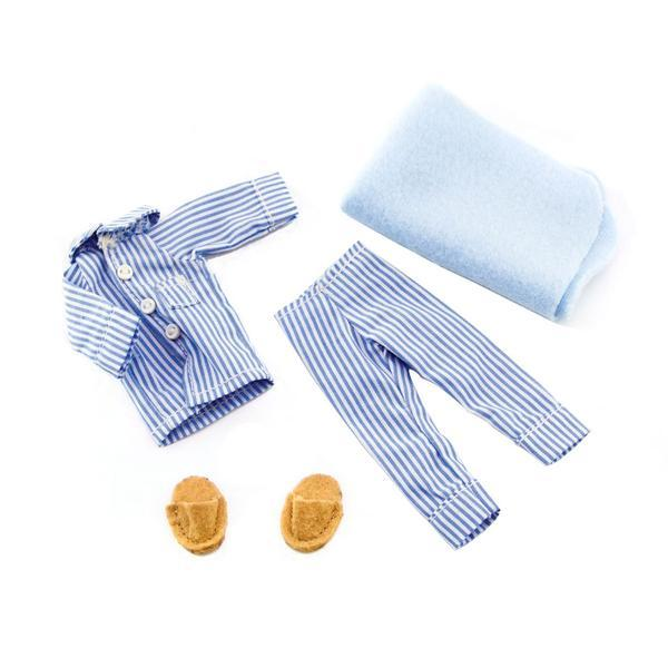 Lottie Doll striped Pyjama outfit with pale blue blanket and brown felt slippers.