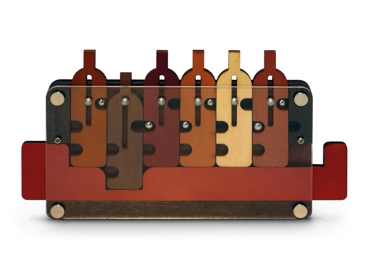 Waiter's Tray puzzle with moving wooden bottle shapes.