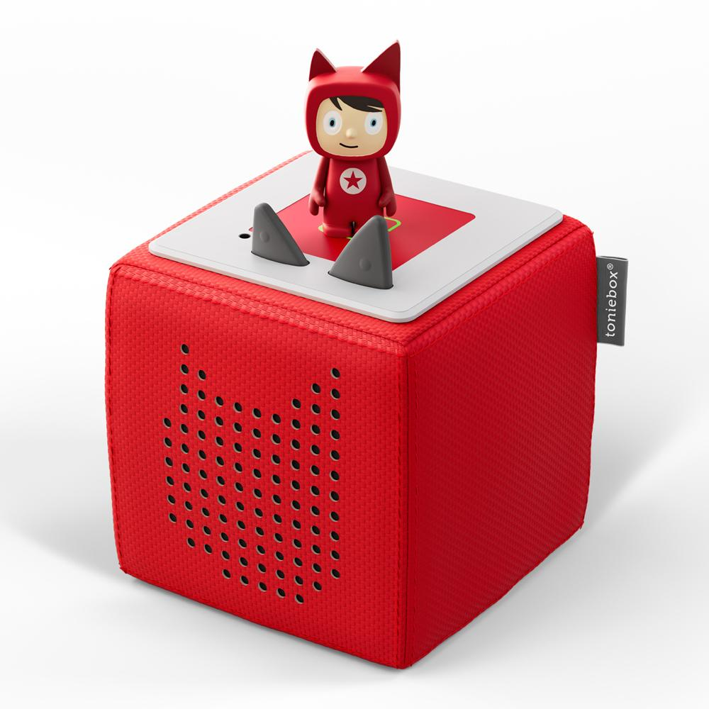 Red Toniebox with figure on top