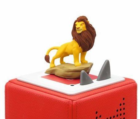 Lion King model Tonie sitting on top section of a Toniebox.