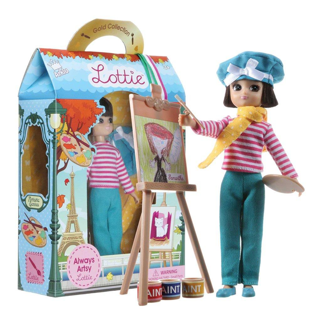 Always Artsy Lottie Doll pictured in packaging.