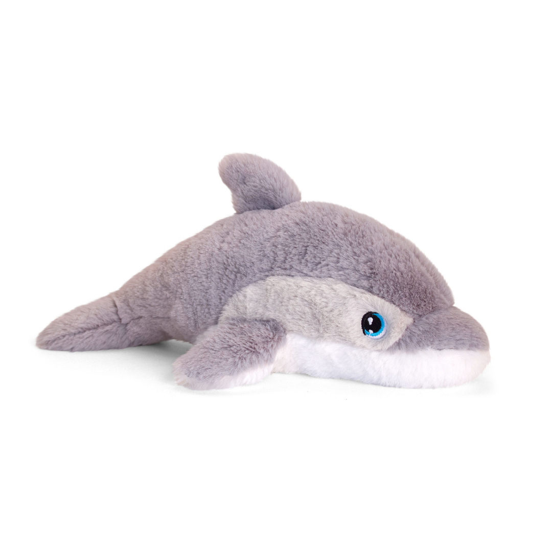 Soft grey dolphin toy.