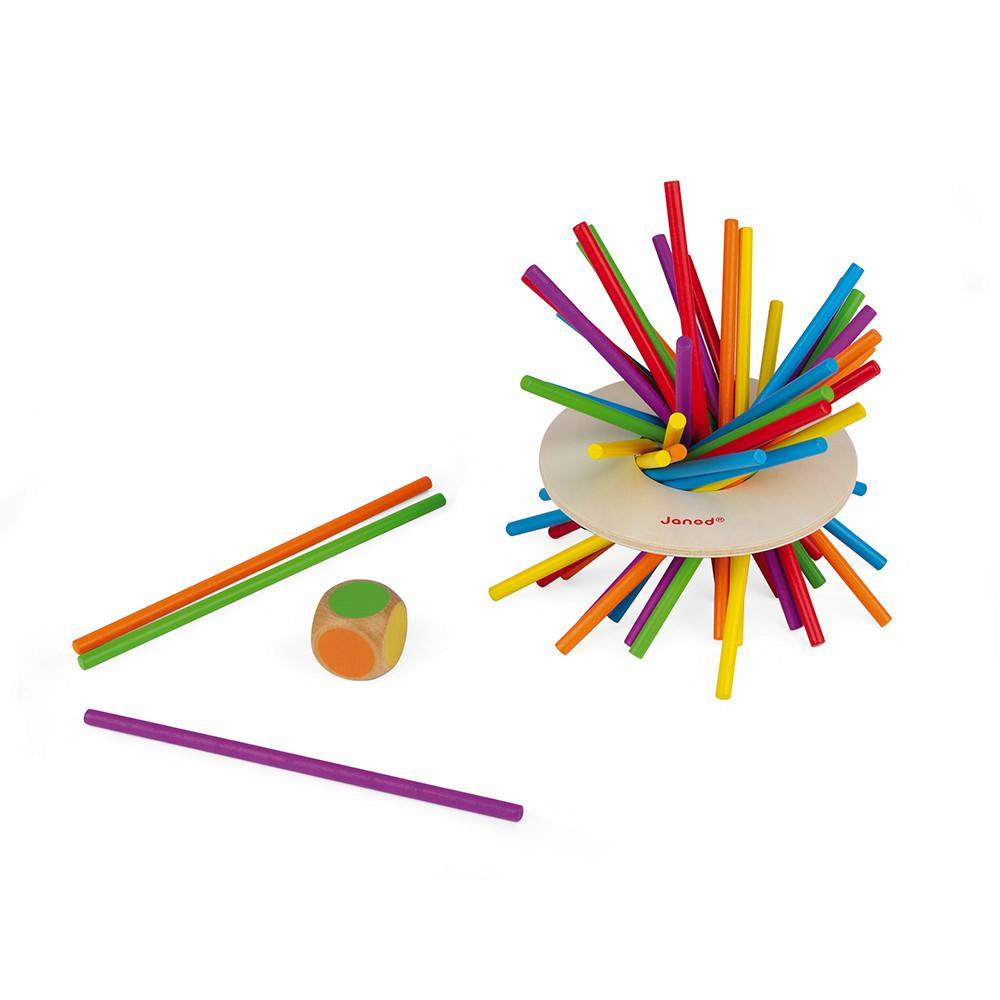 Colourful pick-up sticks with wooden die.