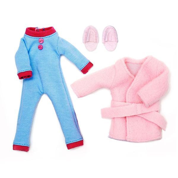 Lottie Doll Pyjama Outfit with blue onesie, pink short robe and pink slippers.