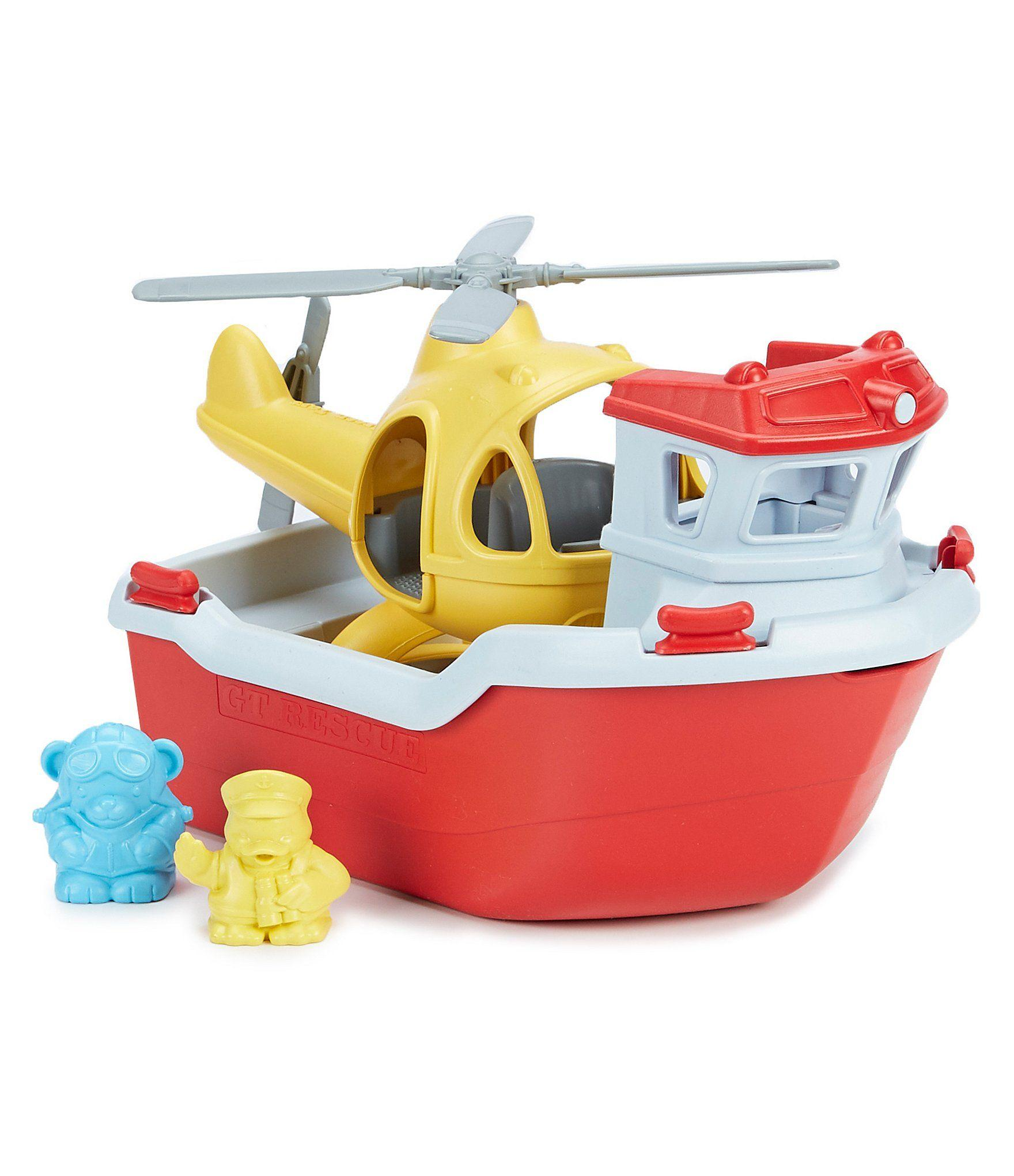 Green Toys Rescue Boat carrying a yellow helicopter.