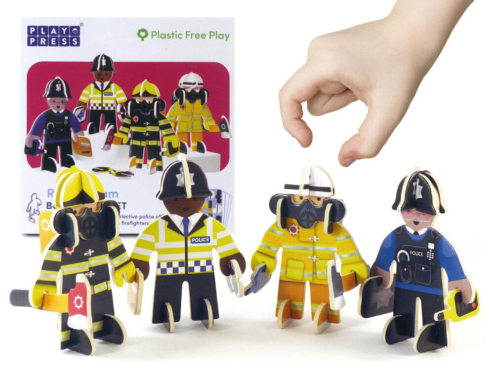 Two cardboard police figures and two firemen play pieces.