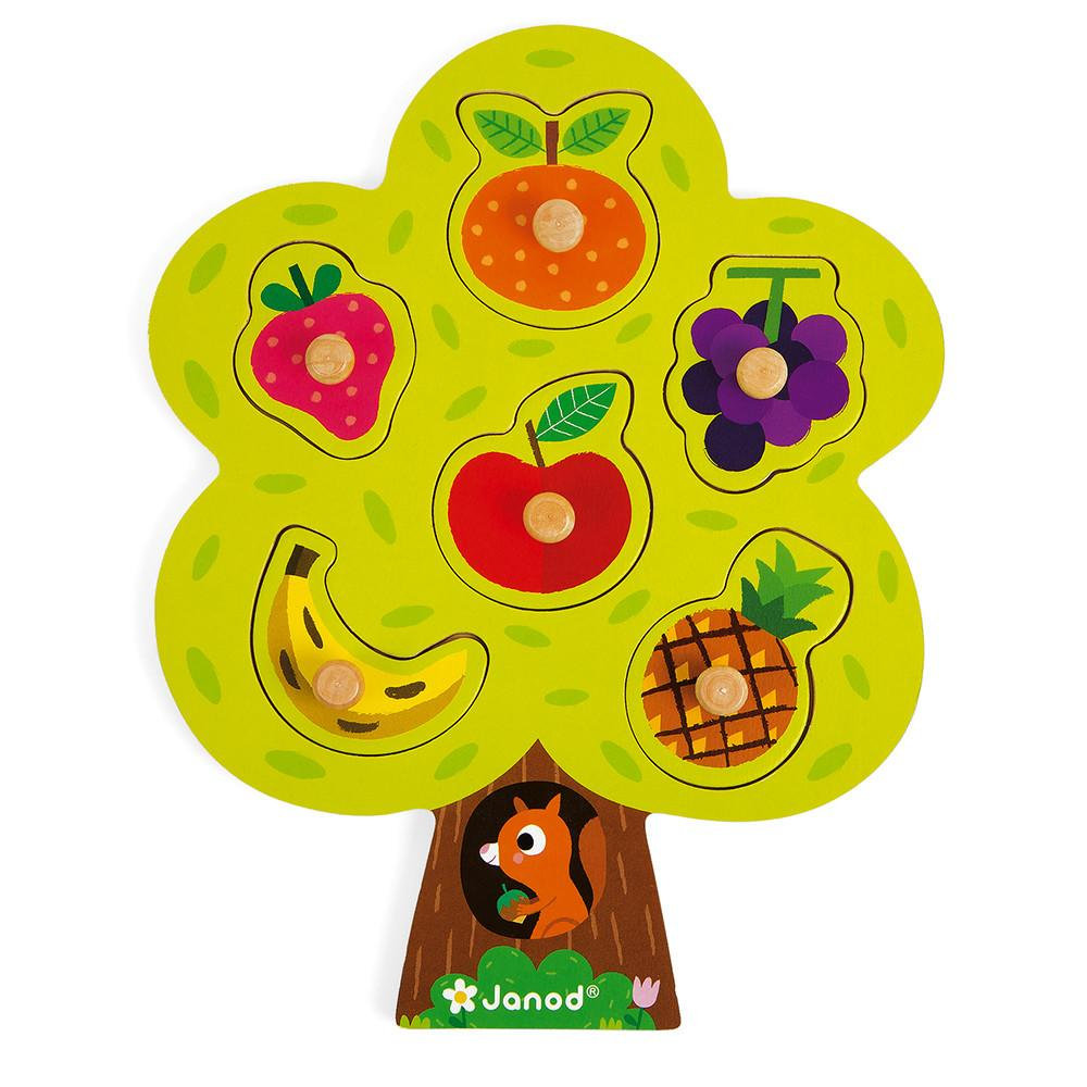 Wooden tree-shaped puzzle with different fruit peices that lift out.
