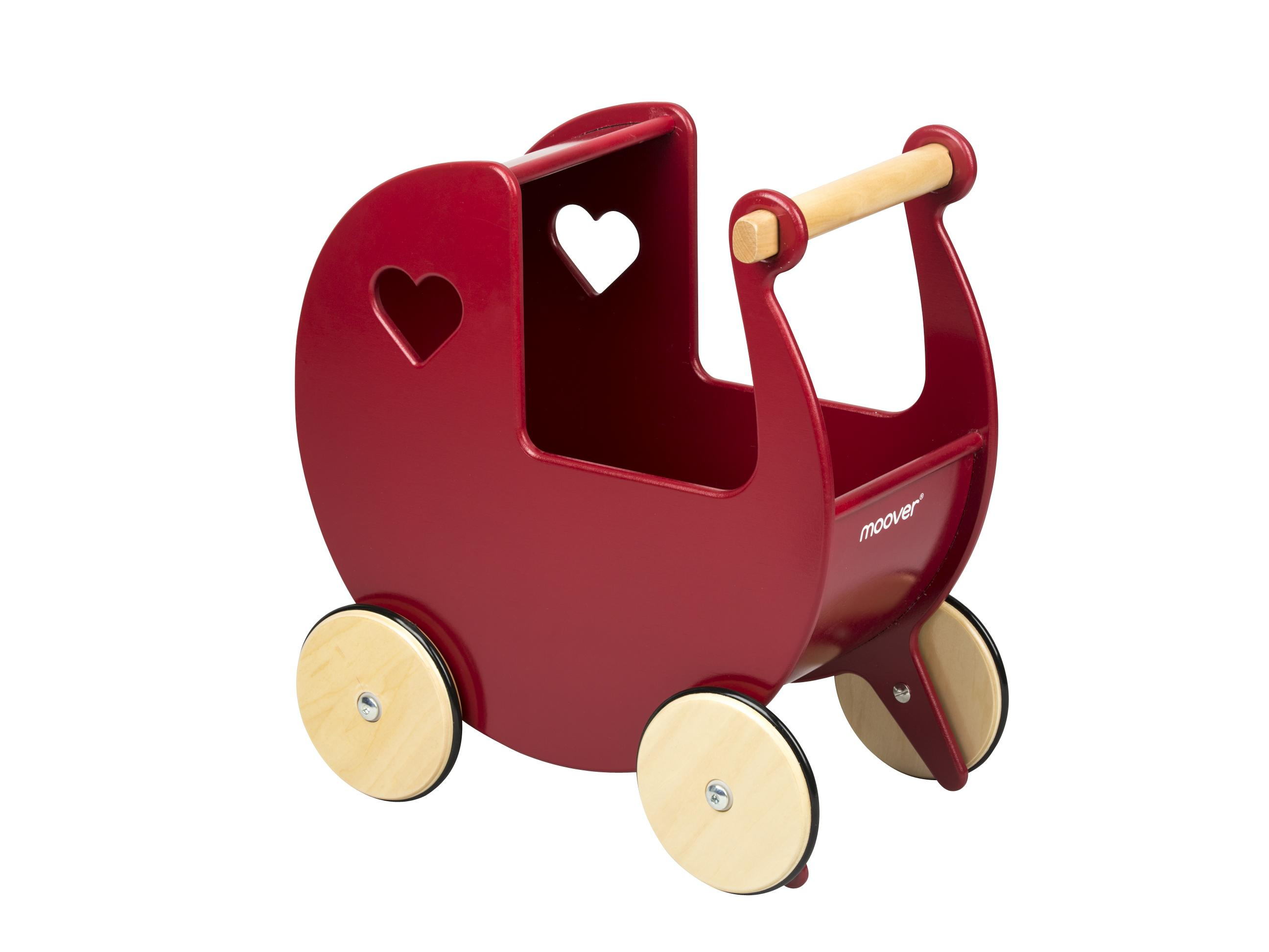 Red wooden pram with light coloured wheels on light background.