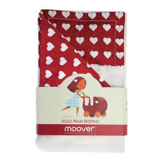 Red and white love-heart patterned dolls' pram bedding.