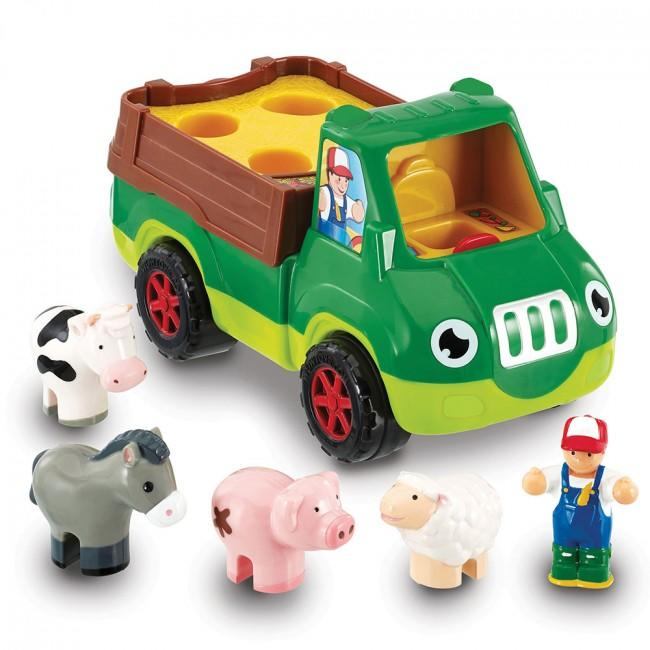 Toy farmer with truck and animals that go in the back.