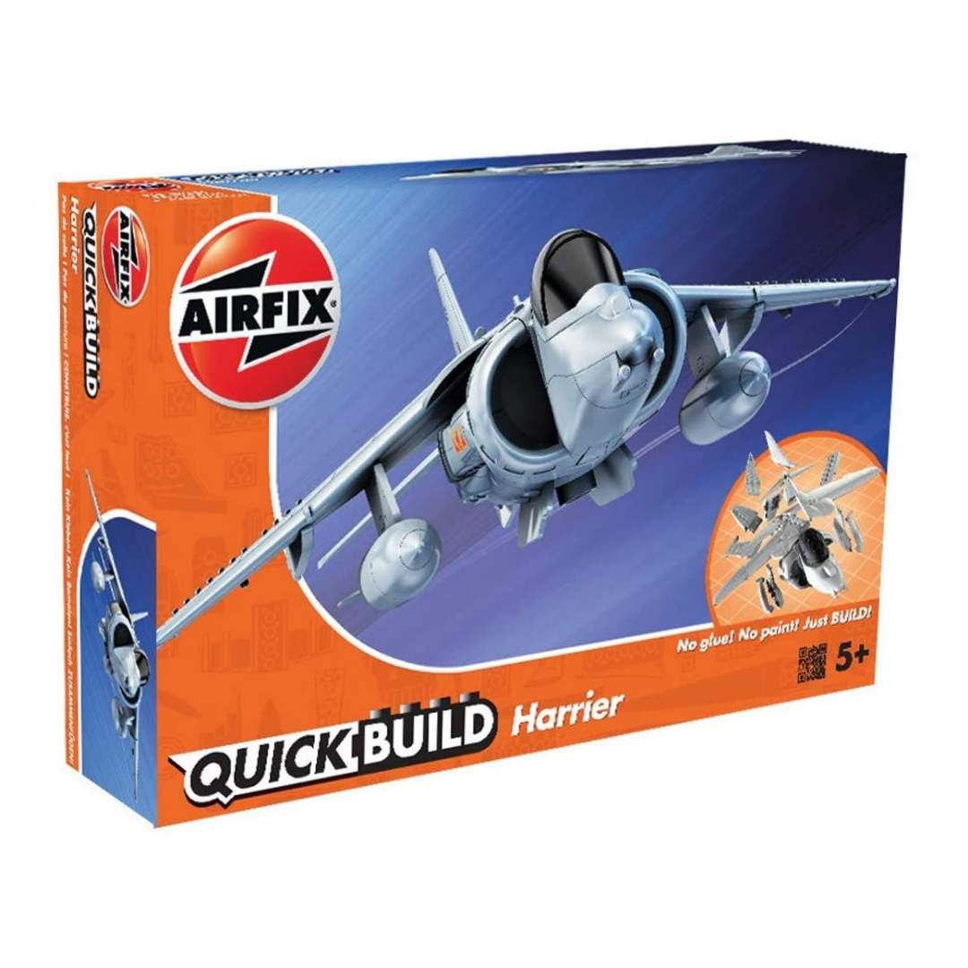 Box containing Harrier Airfix model jet.