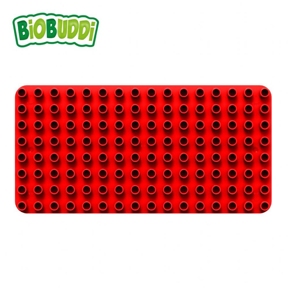 Red baseplate for Biobuddi building blocks. Also compatible with building bricks from other manufacturers.