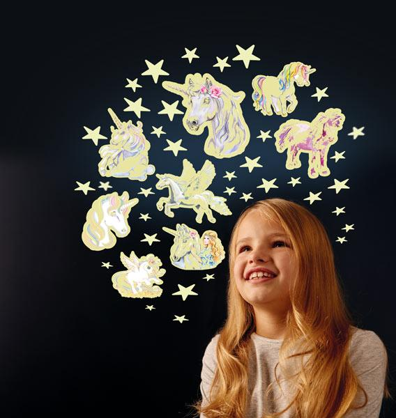 Adhesive stars and unicorns stickers that glow in the dark. Decorate your room and watch them glow!