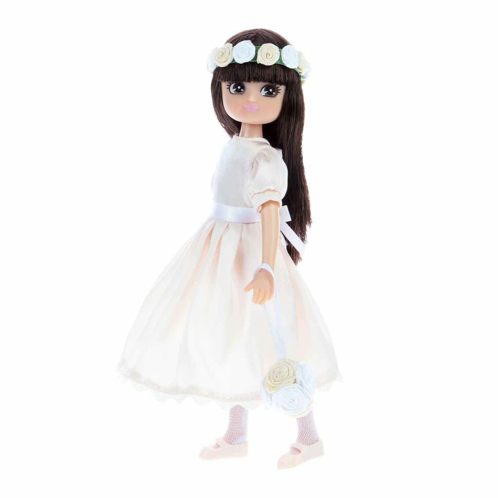 Lottie Doll Flower Girl in pale cream satin dress with flower headband and flower bag.