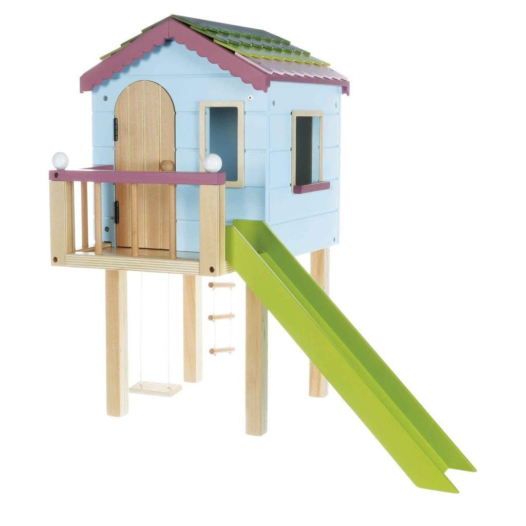 Play treehouse on stilts with swing and a sgreen slide for Lottie Dolls.