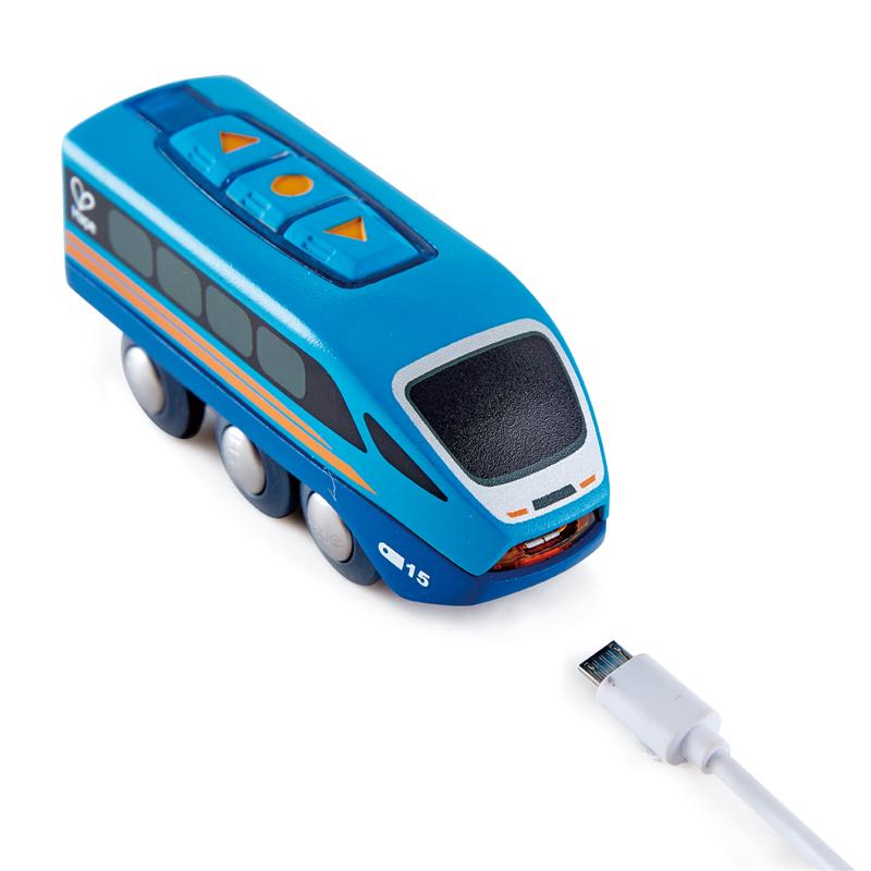 Blue train carriage with usb charger.