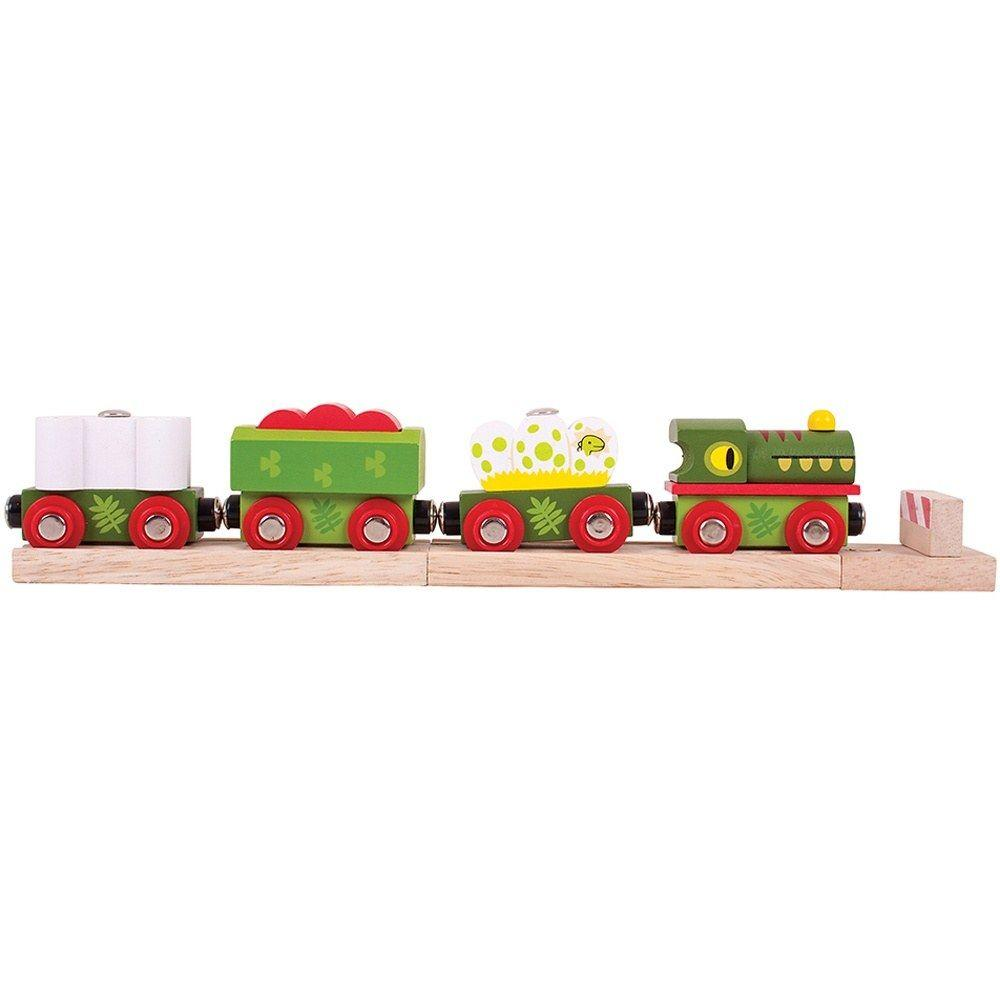Fun wooden dinosaur train with dinonsaur eggs on one carriage!