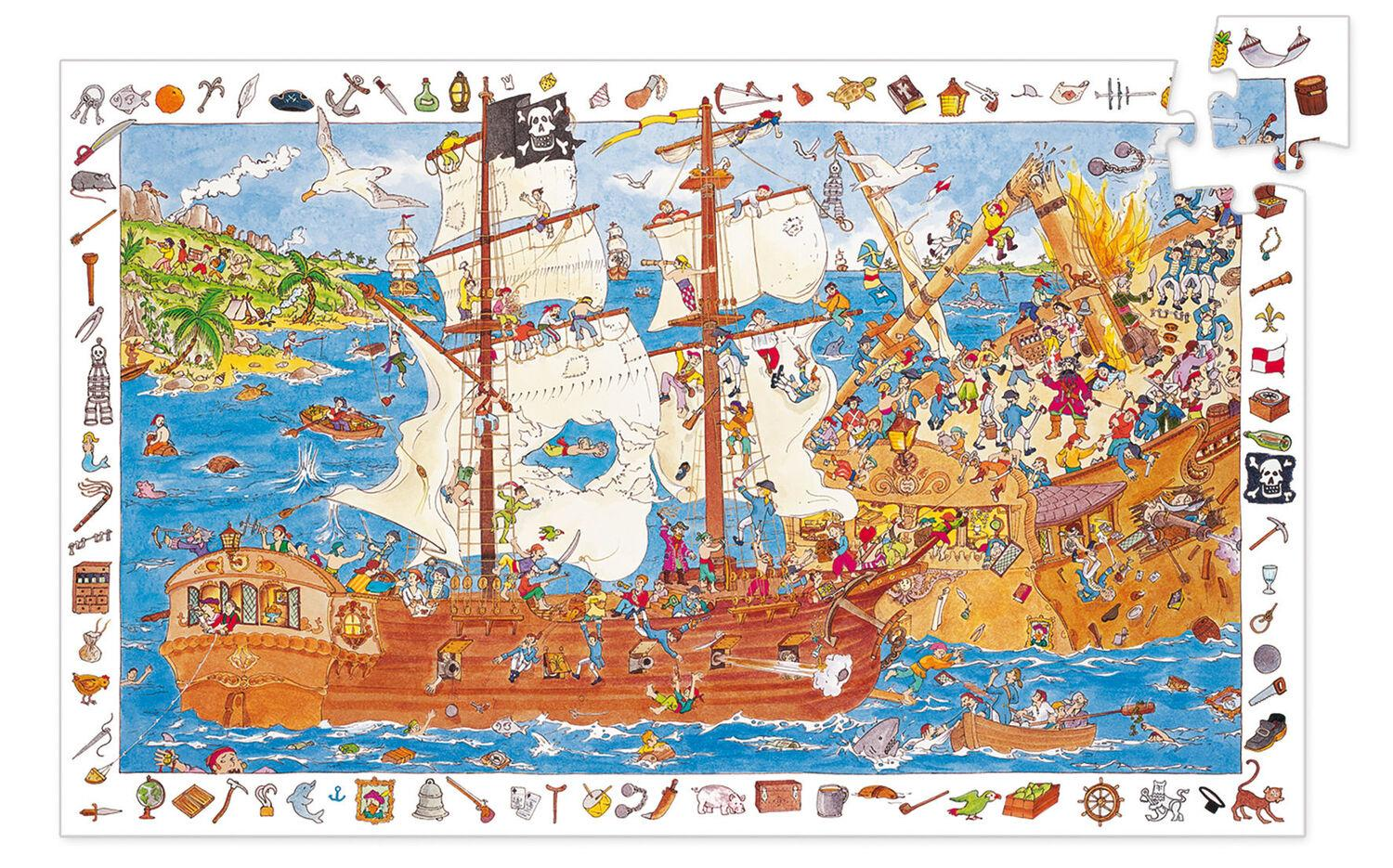 Djeco -100 piece Pirate themed piece observation Puzzle & Poster