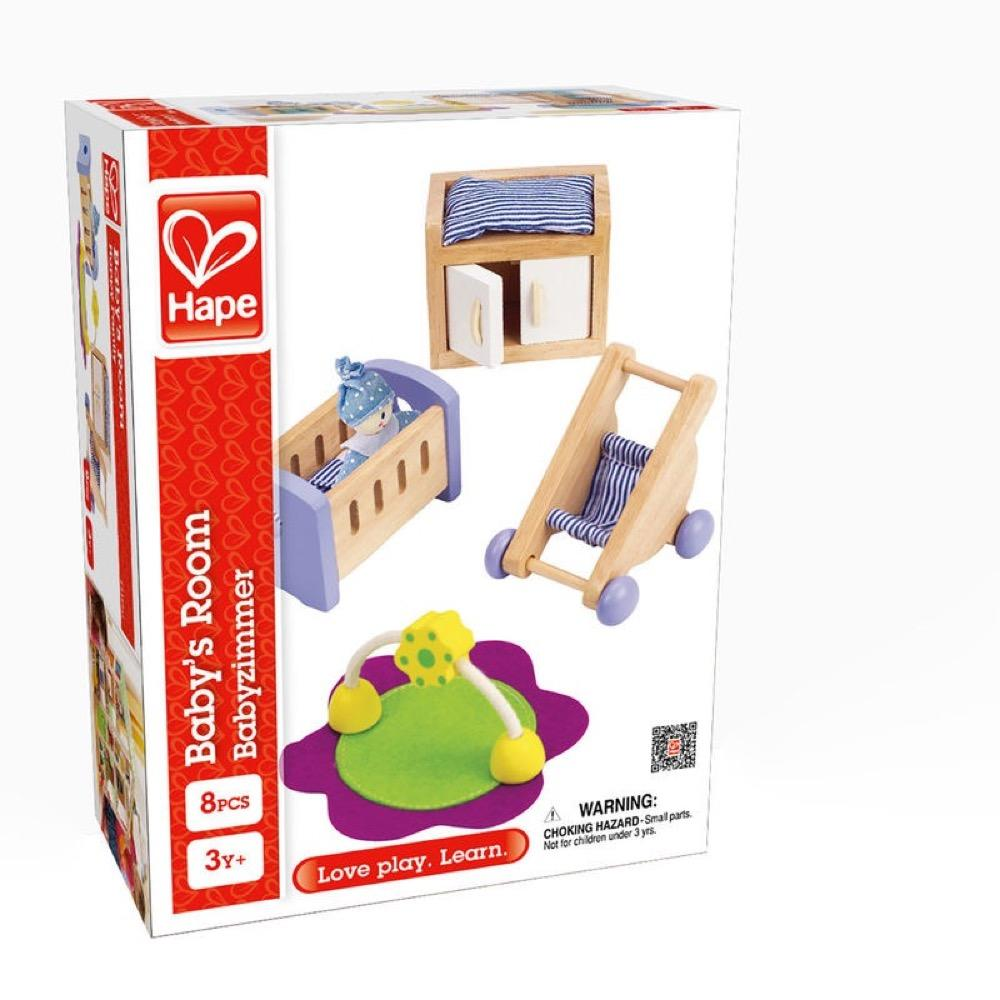 Box with doll's house baby furniture.