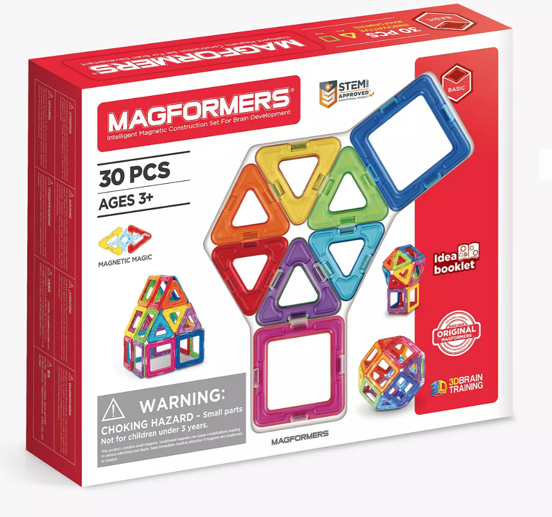 30 piece Magformers magnetic and colourful play-pieces set