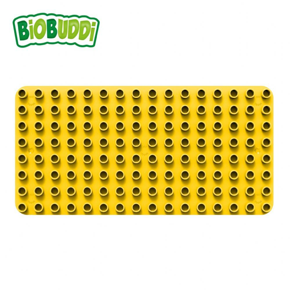 Yellow baseplate for Biobuddi building blocks.